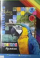Цветная бумага мелованная двухсторонняя А4 16 листов 8 цветов
