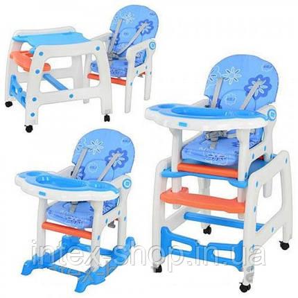Детский стульчик - трансформер для кормления (арт.M 1563-1-4), со столиком ,голубой, фото 2