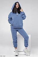 Костюм двійка жіночий спортивний теплий на флісі худі з капюшоном та штани арт 366