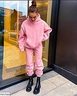 Молодіжний спортивний костюм жіночий оверсайз видовжене худі і штани трехнить на флісі арт 397