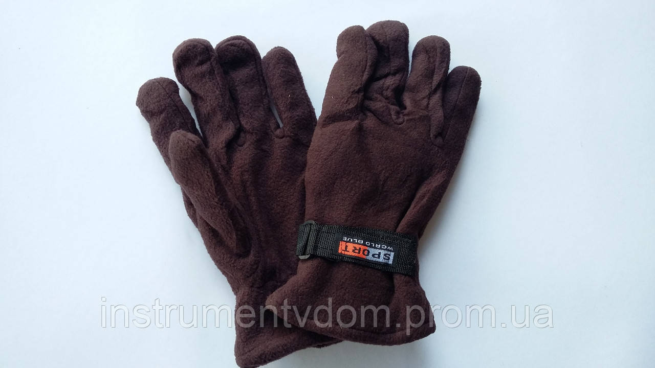 Перчатки утепленные с двойным флисом SPORT на липучке (упаковка 12 пар)