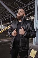 Мужская куртка из кожзама черная M L XL XXL