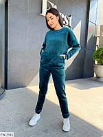 Повседневный женский прогулочный спортивный костюм из мягкого велюра свитшот и штаны арт 089, фото 1