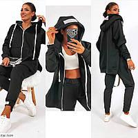 Стильный утепленный женский спортивный костюм на флисе с длинной кофтой-худи на молнии и высокими штанами