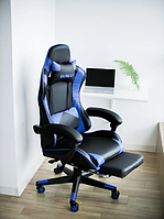 Геймерське розкладне крісло ігрове Bonro з підставкою для ніг геймерський стілець з системою гойдання TILT синій