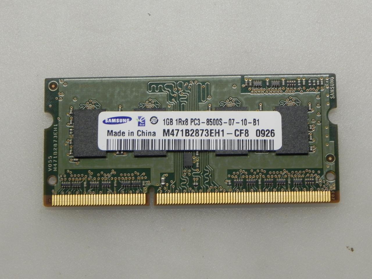 SODIMM DDR3 1GB оперативна пам'ять Samsung PC3-8500S 1066MHz 1GB 1Rx8 для ноутбука бу