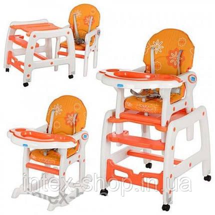 Детский стульчик - трансформер для кормления (арт.M 1563-7), со столиком ,Оранжевый, фото 2