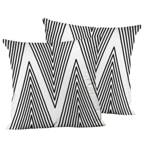 Подушка декоративна шовкова Черные зигзагообразные линии 45x45 см (45IS_CASA007)