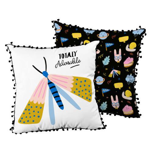 Подушка декоративна шовкова с помпонами Totaly adorable 45x45 см (45ISP_JOY001)