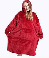 Двусторонний плед Huggle Hoodie с капюшоном и рукавами (красный)