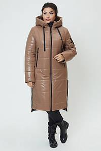 Женское зимнее плащевое пальто больших размеров 50-60