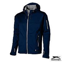 Мужская куртка на флисе с капюшоном от ТМ Slazenger 'Softshell' размер L, синяя, красная, чёрная