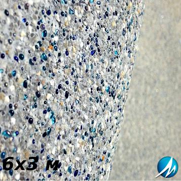 Оздоблення кам'яною крихтою бетонної чаші басейну 6х3 м