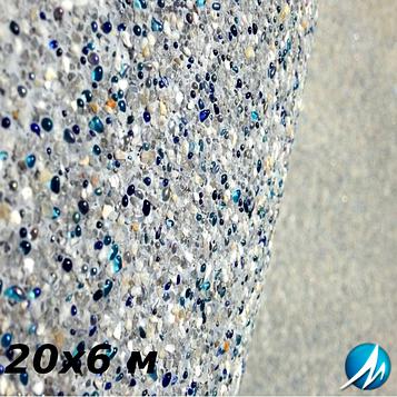 Оздоблення кам'яною крихтою бетонної чаші басейну 20х6 м