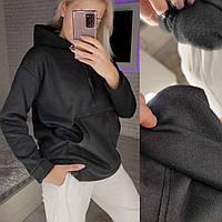 Тёплая женская худи на флисе с капюшоном и карманом