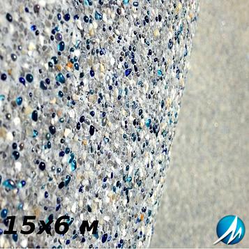 Оздоблення кам'яною крихтою бетонної чаші басейну 15х6 м