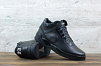 Чёрные кожаные мужские ботинки Jordan   натуральная кожа/натуральная шерсть ( набивная ) + термополиуретан