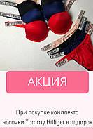 Комплект женского нижнего белья Victoria`s Secret Виктория Сикрет отличного качества со стразами Черный, M