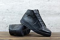 Чёрные зимние ботинки кожаные ECCO   натуральная кожа/натуральная шерсть ( набивная ) + термополиуретан