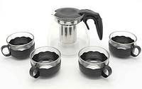 Заварник для чаю прозорий з 4 чашками 900мл А-ПЛЮС кухонний заварювальний френч чайник круглий із скла