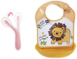 Набор Ложка силиконовая с удержанием формы изгиба для кормления ребенка Розовая и слюнявчик Л ZZ, КОД: 2460165