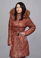 Зимнее женское молодежное пальто. Цвет коричневый