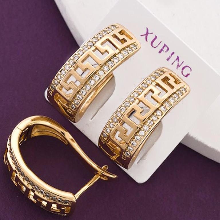 Серьги Xuping длина 1.9см медицинское золото позолота 18К с702