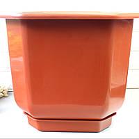 Большой квадратный вазон для больших растений Дама 16 л, напольный вазон