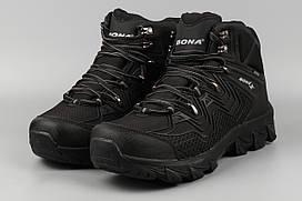 Ботинки мужские черные Waterproof Термо Bona 400C-6 Бона Размеры 41 42 43 44 45