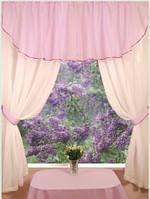 Комплект штор Кристин Бледно-розовый, кухонные