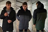 Демисезонная мужская куртка с прорезиненной молнией и водоотталкивающей пропиткой черная S M L XL XXL