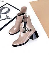 Женские кожаные лаковые демисезонные ботинки на каблуке 36-41 р визон, фото 1