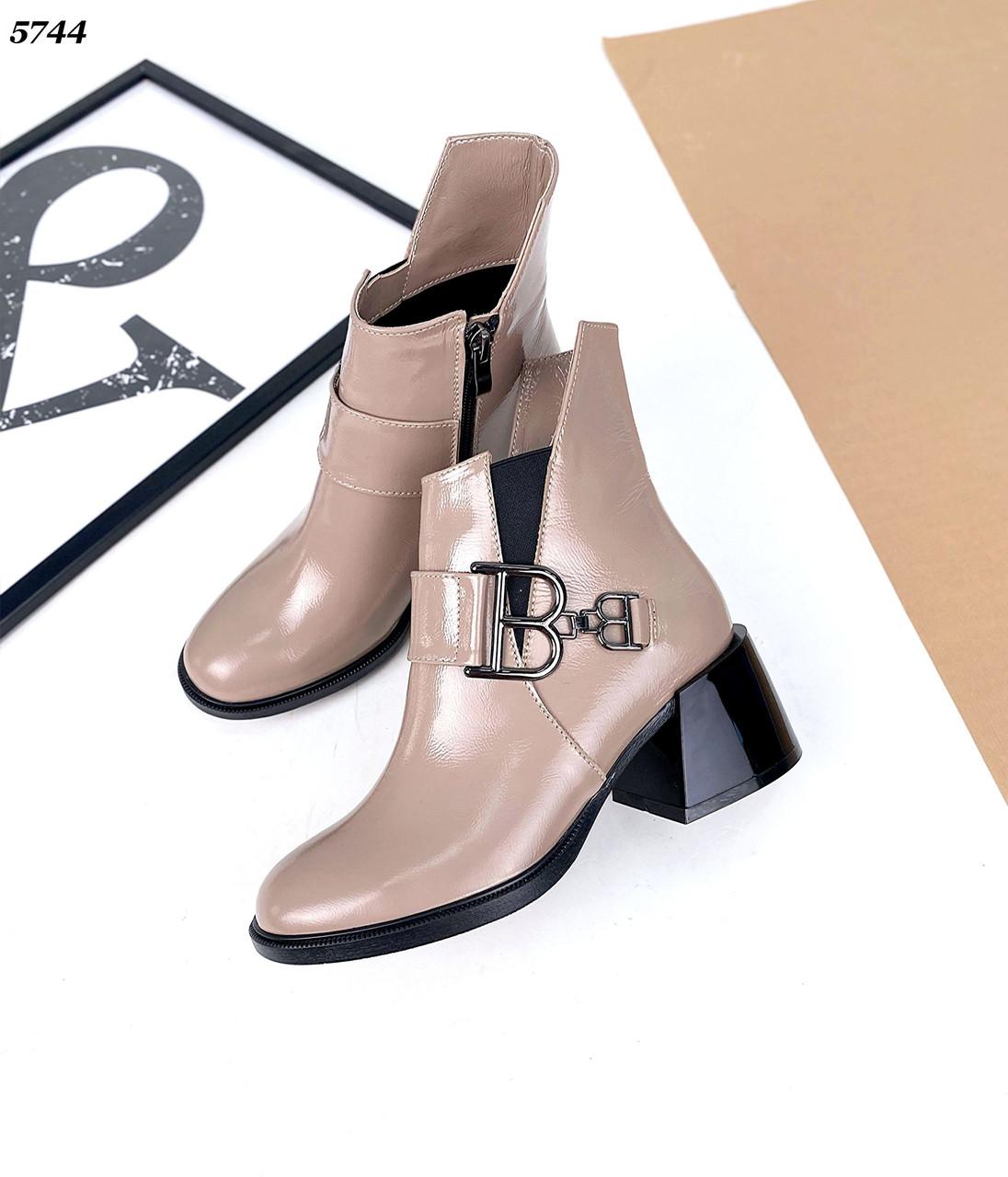 Женские кожаные лаковые демисезонные ботинки на каблуке 36-41 р визон