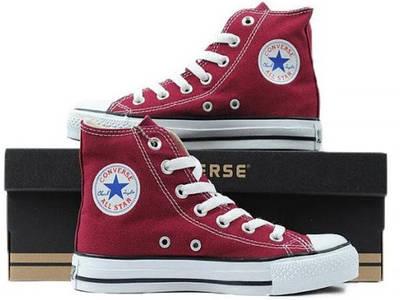 Кеди Converse Style All Star Бордові високі (39 р.) Тотальний розпродаж