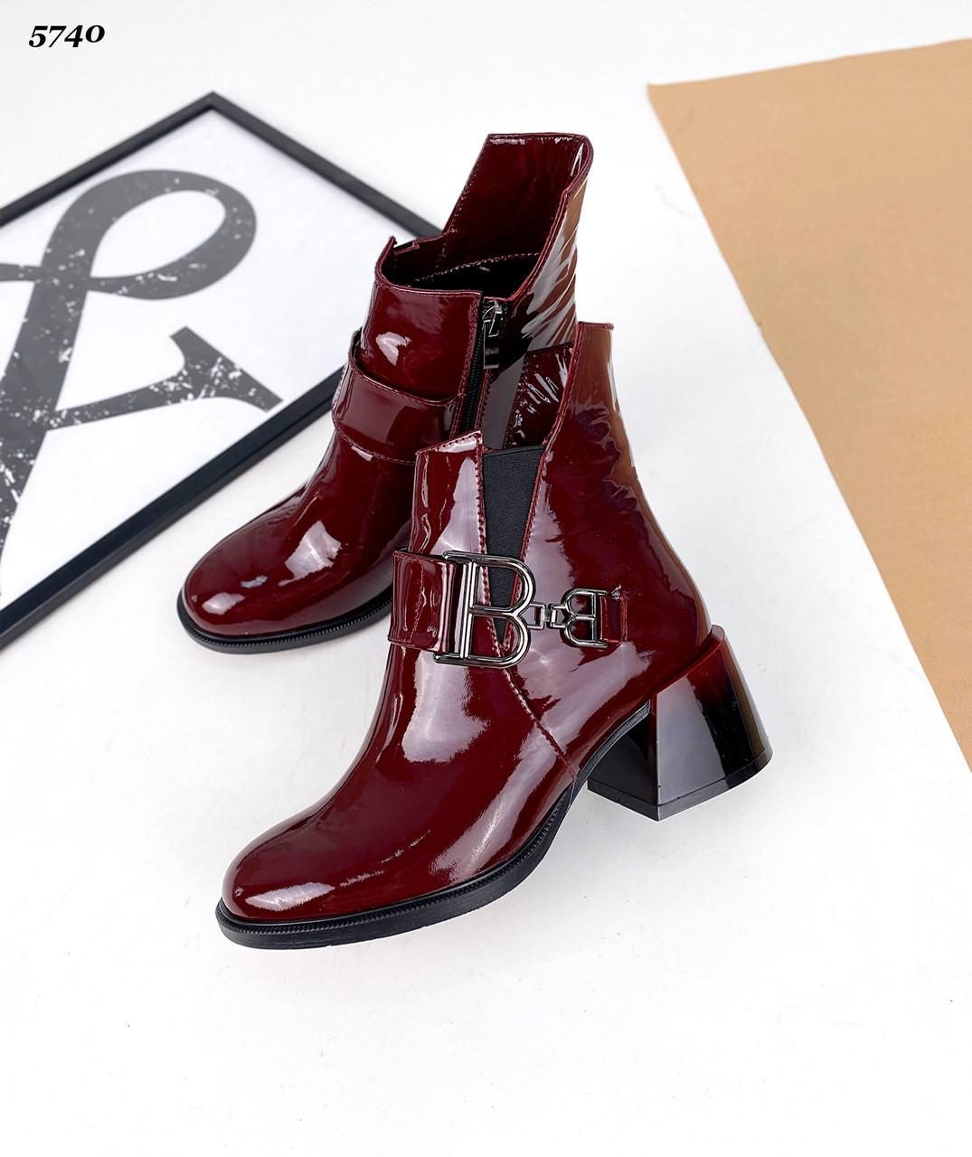 Женские зимние кожаные лаковые ботинки на каблуке 36-41 р бордо