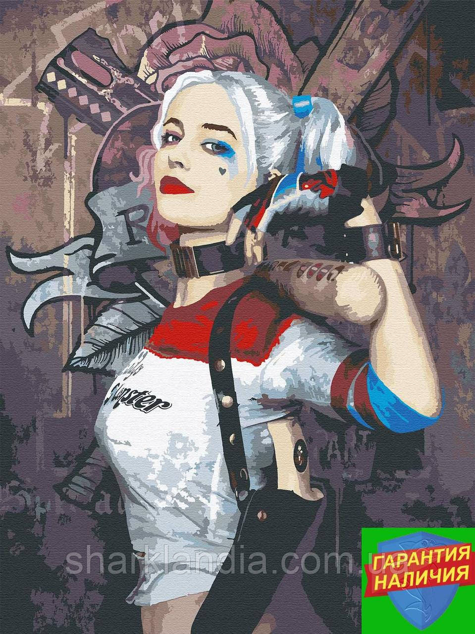 Картина за номерами Харлі Квінн +ЛАК 40*50см Барви Супергерої Марвел Harley Quinn DC