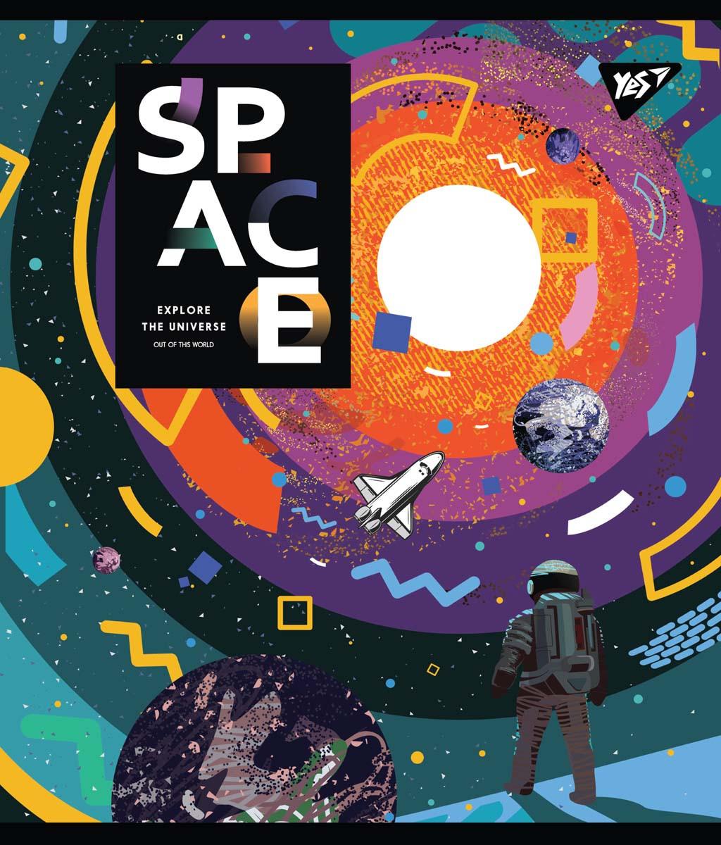 Зошит А5 18 Лін. YES Space Abstract, 10 шт/уп.