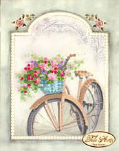 """Рисунок на ткани для вышивания бисером """"Винтажный велосипед"""""""