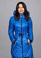 Женский зимний пуховик, цвет ярко синий