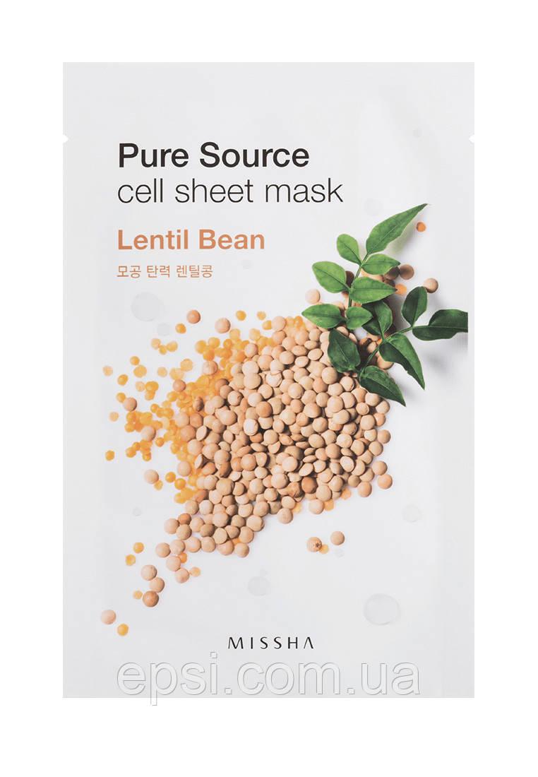 Маска для лица Missha Pure Source Cell Sheet Mask Lentil Bean, 21 г