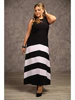 Женское черно-белое платье батал (р. 48-90) арт. Кисея