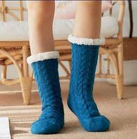 Плюшевые носки-тапочки Huggle Slipper Socks (синие)