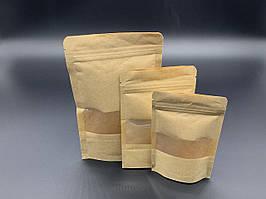 Пакети дой-пак з прозорим вікном і з zip-застібкою. 18х23+3см