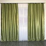 Комплект двосторонніх готових штор на тасьмі блекаут софт 150х270 ( 2шт ) з тюлем 400х270. Колір Салатовий, фото 2