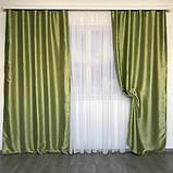 Комплект двосторонніх готових штор на тасьмі блекаут софт 150х270 ( 2шт ) з тюлем 400х270. Колір Салатовий, фото 3