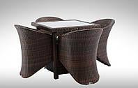 Комплект для кафе плетеный Стол Lepre II 80 x80см  + 4 кресла Aquila
