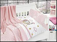 Постельное белье детское с вязаным покрывалам First Choice бамбук Kitty pembe