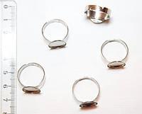 Основа для кольца Металл, с Платформой под Кабошон, Цвет: Платина, Размер: 12х5мм (20 шт) 24_6_14