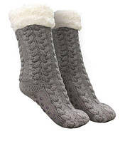 Плюшевые носки-тапочки Huggle Slipper Socks (серые)