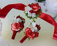 Комплект свадебных бутоньерок в бардовом цвете (для жениха, свидетеля и свидетельницы)